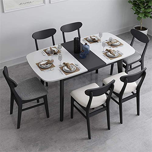 N/Z Living Equipment Dining Foldable Table Set Nordic Kitchen Dining Table with 6 Chairs Wood Table and Chairs Set Kitchen Table and Chairs for 6 Person