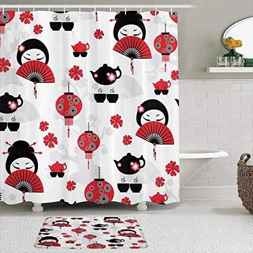 Shower Curtain-Geisha Japanese Fan Ancient Chinese Traditional Tea Pot Lanterns Floral, Waterproof Bathroom Shower Curtains Bathroom Decor 72x72