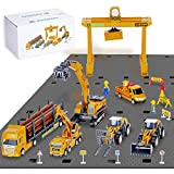 Construction Site Vehicles Toy Set, Kids Engineering Playset, Tractor, Digger, Crane, Dump Trucks, Excavator, Cement, Steamroller, Birthday Gift for 3 4 5 Year Old Toddlers Boys Children
