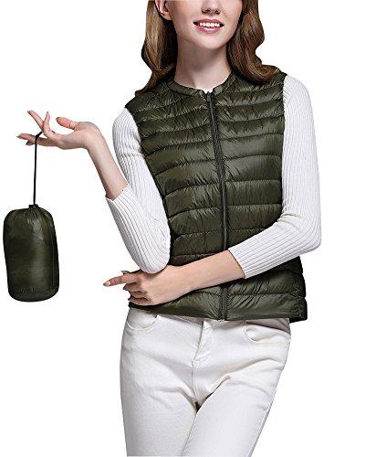Mujer Ultra-Light Chaleco de Pluma Sin Cuello Plegable Down Chaquetas Ejercito Verde L