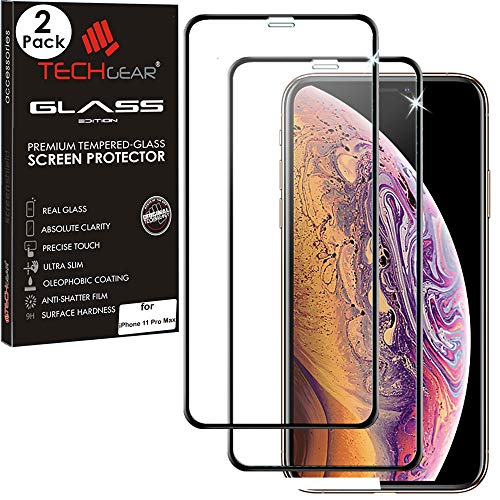 TECHGEAR 2 stuks Pantserglas compatibel met Apple iPhone 11 Pro Max, iPhone XS Max [Volledige Scherm] Gehard glas Screen Protector Glass Cover voor iPhone 11 Pro Max, iPhone XS Max