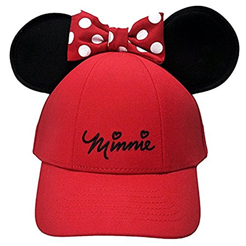 Disney Women's Minnie Mouse Bow Ears Baseball Hat (Red)