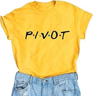AEURPLT Womens Pivot Friends T Shirt Funny Cute Lightweight Graphic Tee Tops Shirts