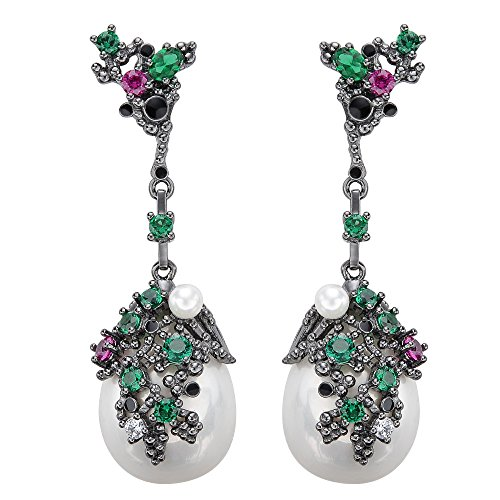 EVER FAITH Damen 925 Sterling Silber Zirkonia weiss kuenstliche Perle Vintage Style Dangle Ohrringe bunt