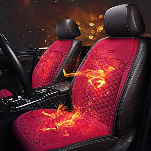 加熱されたカーシートクッション、30秒で急速に加熱される12Vカーシートヒーター、寒い天候や冬の安全な運転、車/トラック/ホーム/オフィスチェア用の加熱されたシートカバー