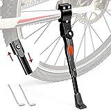 Comius Sharp Béquilles pour Vélo Support de Vélo Béquille de Vélo Réglable en Aluminium Béquille Réglable Vélo, Béquille Latérale Support Adapté au Vélo avec Diamètre de Roue 24-28 Pouces