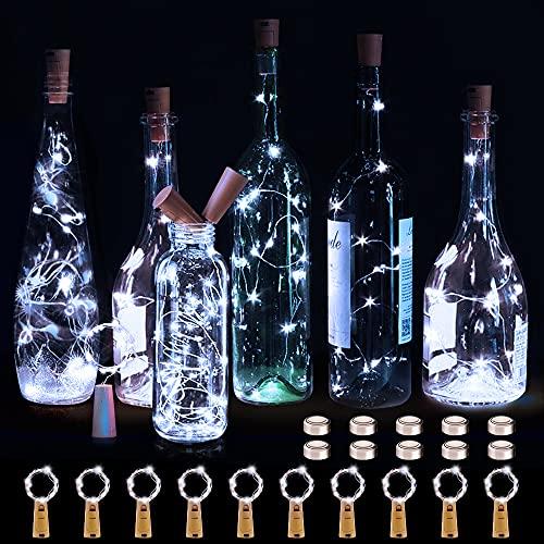 KOTONAMI Luces Botella, [10 Unidades] Luces LED para Botellas, Luz LED de Hadas a Pilas Decorativas Luces para Bodas, Romántico, Fiestas, Jardines, Halloween, Navidad, Blanco Frío