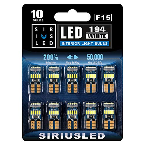 SIRIUSLED -F15- 194 LED Bulbs Extremely Bright 4014 Chipset for Car truck Interior Dome Map Door Courtesy Marker License Plate Lights Compact Wedge T10 168 2825 Pack of 10