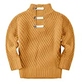 Bbalizko Toddler Boys Cable Knit Sweater Kids Pullover Long Sleeve Sweaters Turtleneck Sweatshirts Winter Clothing Brown