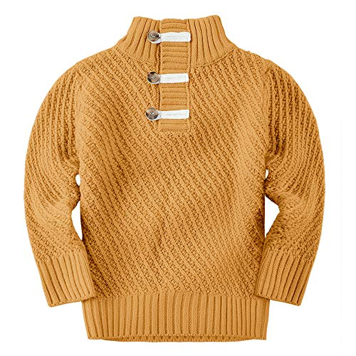 Makkrom Kids Baby Boys Girls Knit Sweater Turtle Neck Long Sleeve Casual Winter Warm Solid Pullover Sweater Brown