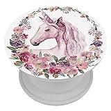 LORVIES Aquarelle Licorne avec couronne de fleurs pastel, support extensible pour téléphone portable, 1 pièce