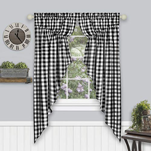 "Achim Home Furnishings Buffalo Check Gathered Swag Window Curtain Pair, 72"" x 63"", Black, Black & White"