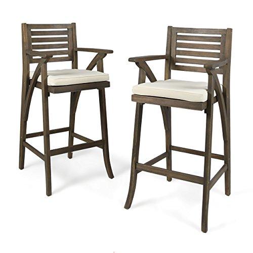 Christopher Knight Home 304671 Hermosa Barstool (Set of 2), Grey Finish/Cream Cushion