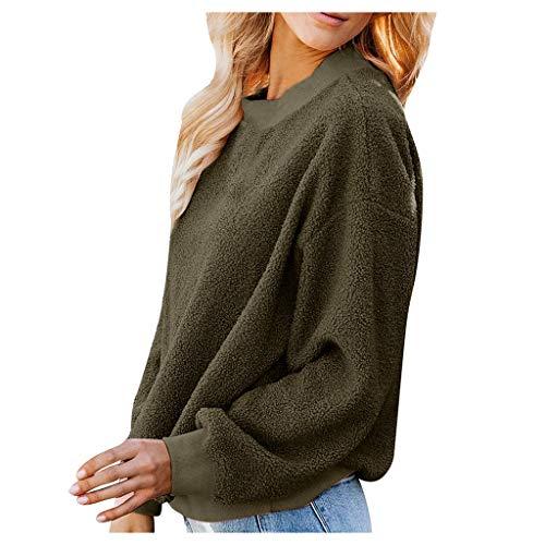 KPILP Damen Teddy-Fleece Sweatshirt Pullover Rundhalsausschnitt Frauen Fuzzy Winter Warme Sweater Einfarbig Warm Pullover Oberteile Langarm Tops Bluse