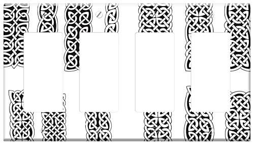 Switch Plate 4 Gang Rocker/GFCI - Columns Goticas Vector Celtic Patterns