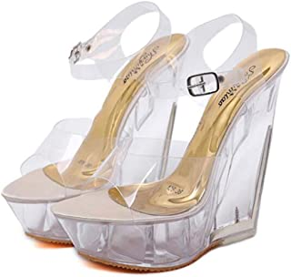 Womens Fish-Billed Wedge Sandals,Buckle Open Toe Adjustable Sandals,Summer Ankle Strappy Transparent Sandals BucklePromPartyShoes,Beige,36 EU