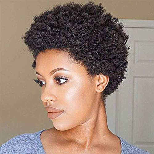 Afro Kinky Curly Wigs Brazilian Hair Wigs Short Pixie Hairstyles Human Hair Wig 100% Human Hair Wigs Full Machine Made Pixie Cut Wigs For Black Women