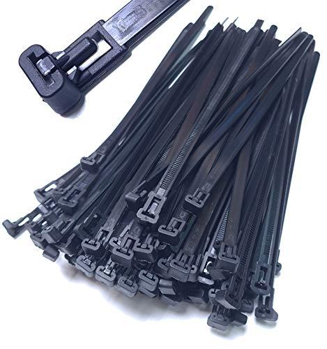 10 Stück Kabelbinder wiederverschließbar 300mm x 7,6mm schwarz wiederlösbar Mehrweg Nylon wiederverwendbar UV stabil