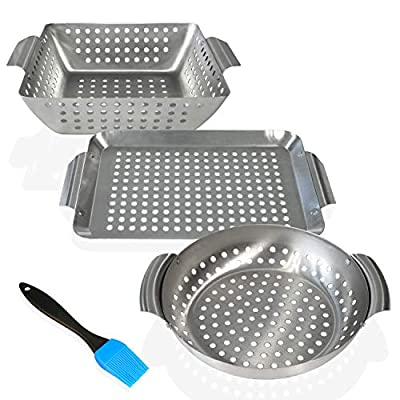Dakvik BBQ Grill Baskets (Set of 3) with Bonus Silicone Basting Brush - Heavy Duty Stainless Steel, Dishwasher Safe, BBQ Accessory for Outdoor Grilling of Veggies Meats Fruits, Suits All Grill Types