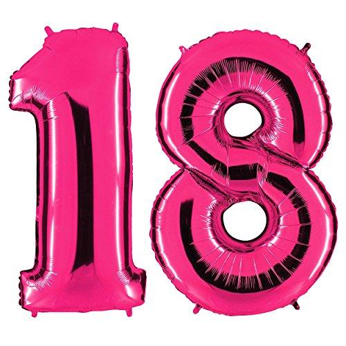 PartyMarty Ballon Zahl 18 in Pink - XXL Riesenzahl 100cm - zum 18. Geburtstag - Party Geschenk Dekoration Folienballon Luftballon Happy Birthday Rosa