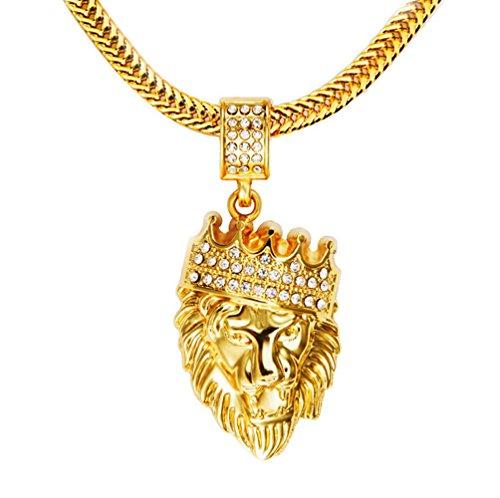 GuDeKe Hombres 18k Plateado Oro Verdadero de la Corona del Rey del león Collar Pendiente, CZ del embutido, con la Cadena 30'