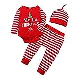 YAAY My 1St Christmas - Conjunto de 3 piezas para bebé y niña, diseño de copo de nieve, árbol de Navidad de manga larga, pantalones a rayas y sombreros. 0-18 m