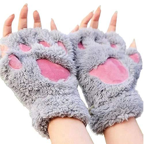 Cartoon Gloves for Women Girls Winter Warm Fingerless Cat Bear Paw Kitten Cute Mitten Xmas Gift Gloves (Gray)