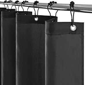 Furlinic Shower Curtain Dark Grey,Waterproof Solid Fabric Curtains with Weighted Hem and Durable Brushed Black Decorative Hook Rings with Roller for Bathtub and Bath or Washroom-71x71 Inch.