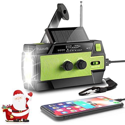 [2021 Newest] Emergency-Hand-Crank-Radio,4000mAh Portable Weather Solar Radios with Motion Sensor Reading Lamp,3 Gear LED Flashlight,SOS Alarm,Cell Phone Charger,AM/FM/NOAA (Green)