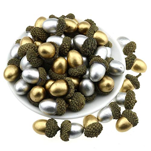 Gresorth 50 Stück Gold + Silber Künstlich Eichel Fälschung Eichel DIY Kunst Material Zuhause Party Christmas Frucht Obst Dekoration