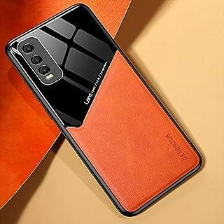 電話ケース 金属製の鉄板とin vivo y70sの +有機ガラスの携帯電話ケース (Color : Orange)