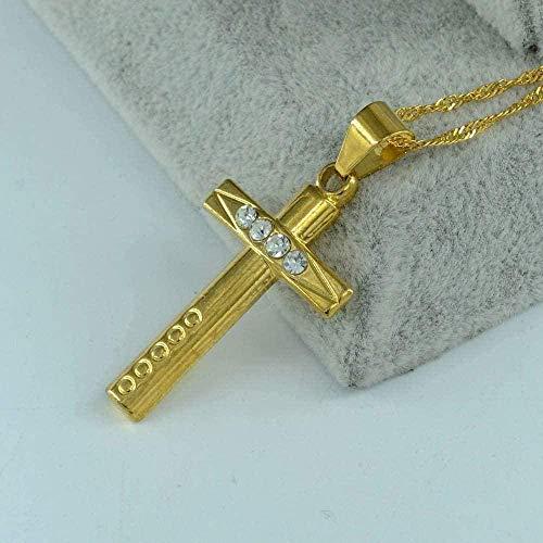 huangxuanchen co.,ltd Collar Collar Colgante De Collar De Cruz De Color Dorado para Mujeres, Niñas, Cruces De Joyería con Diamantes De Imitación