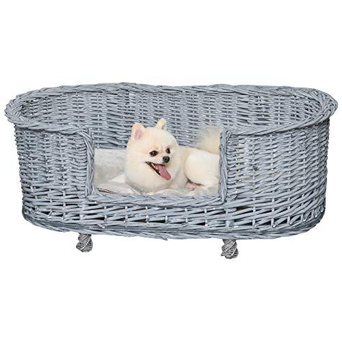 PawHut 92x52cm Woven Wicker Dog Bed Basket Pet Cat Sofa w/Cushion Elevated Base Stylish Furniture Small Medium Grey