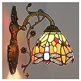Lámpara De Pared, Lámpara De Pared De Un Solo Cabezal Estilo Tiffany, Lámpara De Pared Decorativa De 6 Pulgadas Con Patrón De Libélula, Para El Hotel De La Escalera, E27, 110-240V