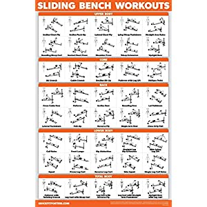 QuickFit Sliding Bench Workout Poster – Compatible with Total Gym, Weider Ultimate Body Works – Incline Bench Exercise Chart