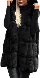 Women Fur Parka Sleeveless Imitation Hooded Waistcoat Cardigan Jacket Coat