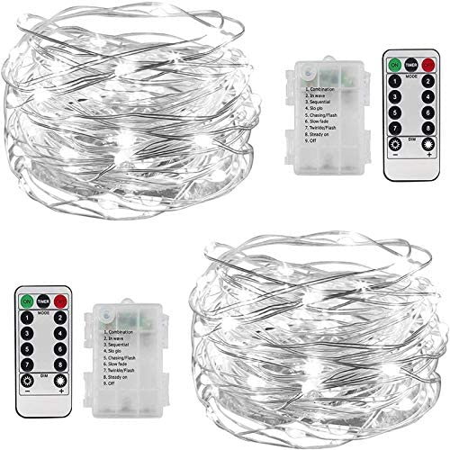 2 Set Fairy Lights Battery Operated 33FT 100 LED Cooper Wire String Lights with Remote Control product image