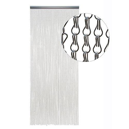HAB & GUT -DV0141- Cortina para Puertas ESLABONES DE Metal, Plateado, Metal, 90/210 Aluminio