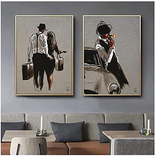WSTDSM Personajes de Arte Pop Dibujo de boceto en Color Pareja charlando y Hombre Fumador Pintura de Lienzo Decoración de Interiores Pintura-20x28 Pulgadas x2 Sin Marco
