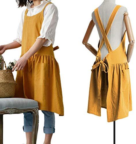 Delantal de cocina estilo coreano, 100% algodón y lino, con diseño de abeja, para uso doméstico, mujer, de moda, para adultos, ropa de trabajo, Amarillo