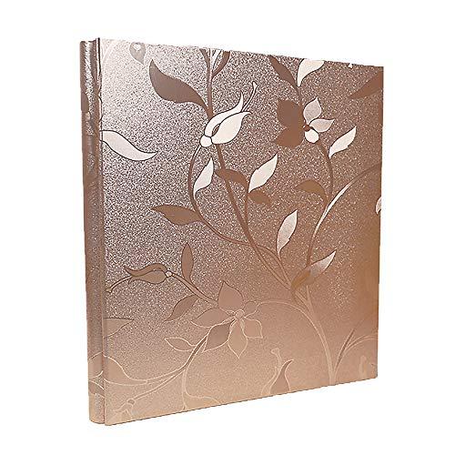 RECUTMS Leather Cover Photo Album 600 Pockets Sewn Bonded Memo Album Slots Album Hold 4x6 Photos 5 Per Page Valentines Day Present Wedding Memory Album (Champagne Gold L-Leaf)