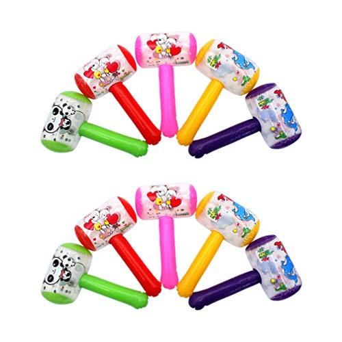 NUOBESTY 10 Stück Quietschender Hammer Aufblasbarer Cartoon-Hammer mit Sound Glocke Clown Griff Hammer Lustiges Spielzeug für Kleinkinder Kinder (Zufällige Farbe)