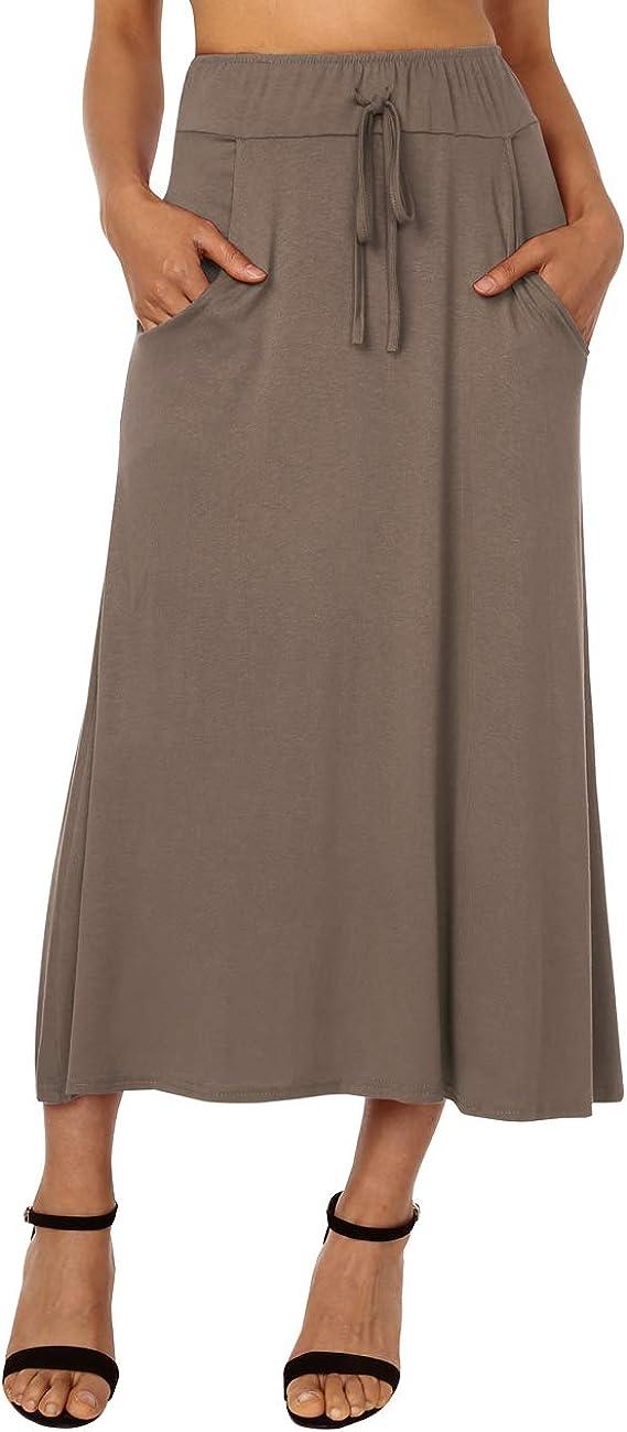 DJT FASHION Women's High Waist Flared Skirt Pleated Midi Skirt with Pocket