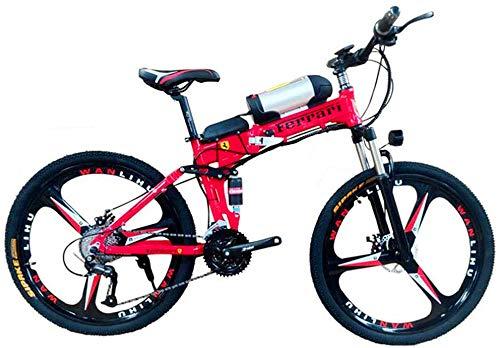 Electric Bike Electric Mountain Bike, 26' Electric Off-Road Bike, 350W Brushless Motor Aluminum Alloy Adults Electric Mountain Bike 21 Speed Removable 36V 10AH Battery Dual Disc Brakes with Kettle for