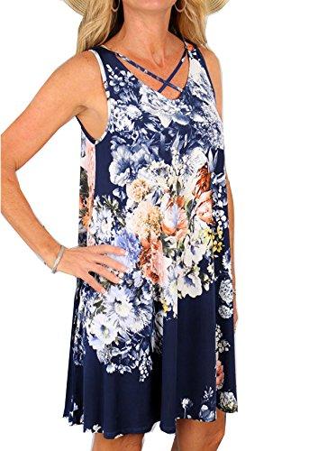 Yidarton Donna Estate Vestito Scollo a V Stampa Knielang Senza Maniche Beach Dress Sciolto Vestito Abito Da Sera (S, blu)