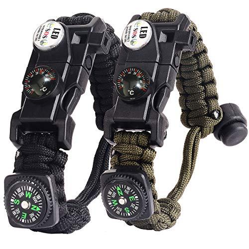 Braccialetto Paracord Sopravvivenza Militare Kit, Bracciale Sopravvivenza Regolabile con Flint + Bussola + Termometro per attività all\'aperto Escursionismo Campeggio di Emergenza (Nero + Camuffare)