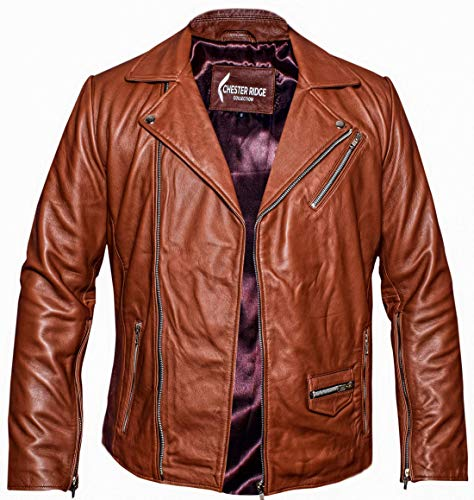 Men's Open Bottom 100% Pure Nappa Lambskin Smooth Collar Leather Motorcycle Biker Jacket (Tan, Large)