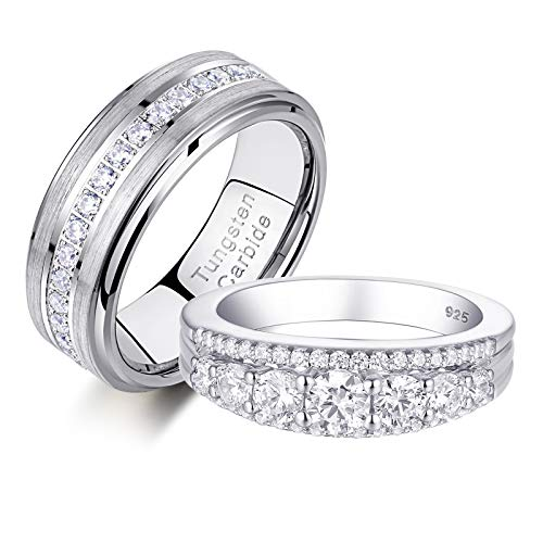 Newshe Wedding Rings Set for Him and Her Womens Eternity Ring Mens Tungsten Bands Silver Cz Sz 5-12 white
