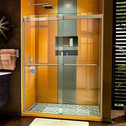 DreamLine Sapphire 56-60 in. W x 76 in. H Semi-Frameless Bypass Shower Door in Brushed Nickel, SHDR-6360762-04