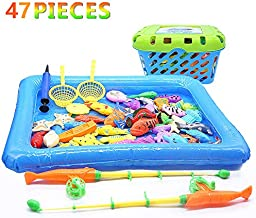 ACGOING 47PCS Fishing Game for Kids -Two Magnetics Fishing Toy for Toddlers, 53 PCS Plastic Floating Fishing Bath Toys Set for Kids Bath Time, Learning and Education Toys for Children